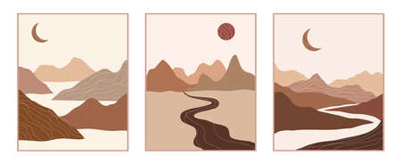 Vector abstract contemporary aesthetic set of backgrounds landscapes with mountains, roads, sunrise, sunset. Boho wall print decor in flat style. Mid century modern minimalist art and design