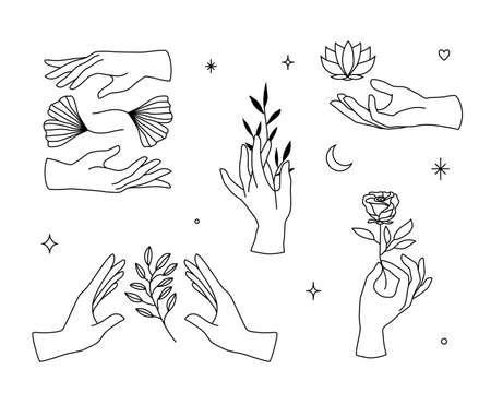 Vector set of female hand l icons in minimal linear style. Emblem design templates with hand gestures, rose, lotus, ginko leaf for cosmetics, manicure, beauty, tattoo, spa, jewelry store Ilustração