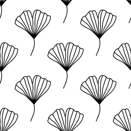 Seamless vector pattern with ginkgo biloba leaves isolated on white background. Botanical monochrome background Vettoriali