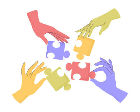 Vector illustration of cartoon human hands holding puzzle pieces with trendy grain textured shadow. Concept of teamwork, research, cooperation, business. Arms connecting elements of jigsaw isolated Векторная Иллюстрация