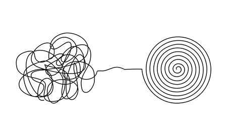 Vector illustration of messy complicated clew line transforming into orderly round element isolated on white background. Concept of solving problem, difficult situation, chaos and mess Ilustración de vector