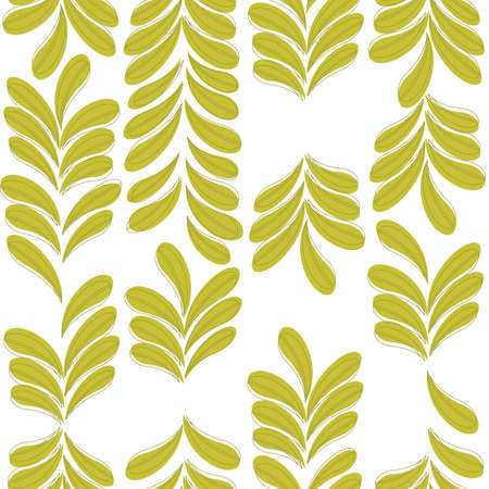 seamless vector pattern with green leaves Иллюстрация