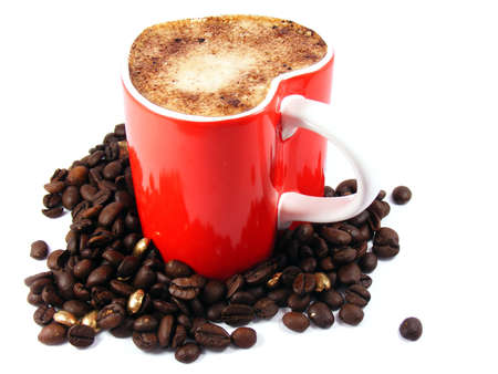saucers: Romantic cappuccino coffee and roasted beans