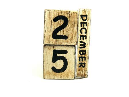 december 25th: Christmas day 25th December date blocks  Stock Photo