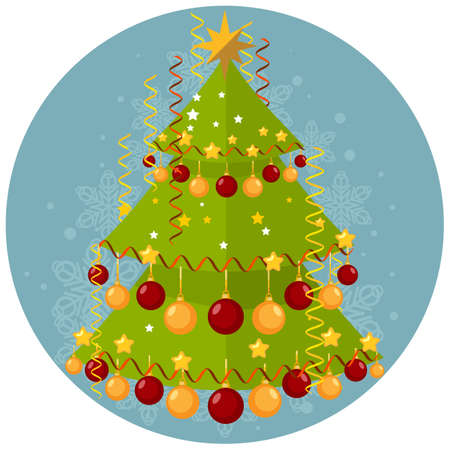 Christmas illustration with a tree decorated with balls