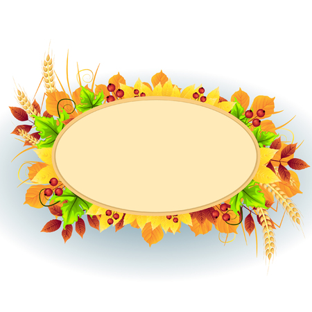 Template oval frame of autumn leaves and berries