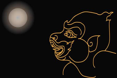 Hanuman see moon Illustration