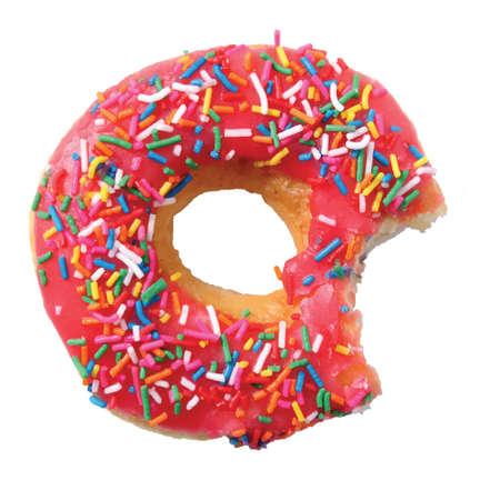 coating: isolated glazed donut or doughnut with pink coating