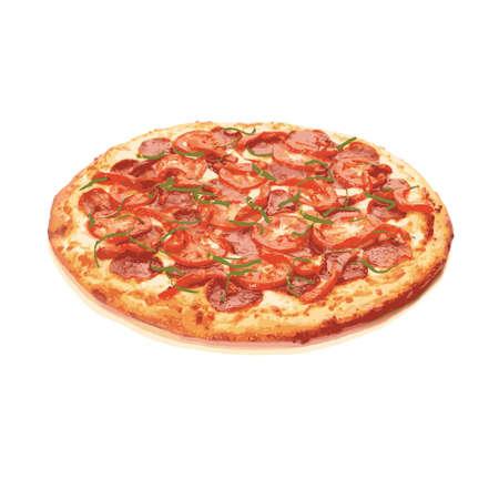 Traditional Italian food pizza,vector Ilustração