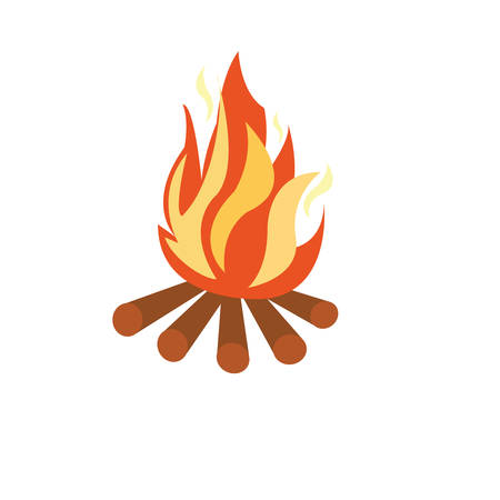 Vector - Illustration of a campfire on white