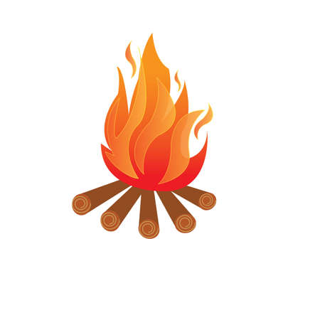 combust: Vector - Illustration of a campfire on white Illustration
