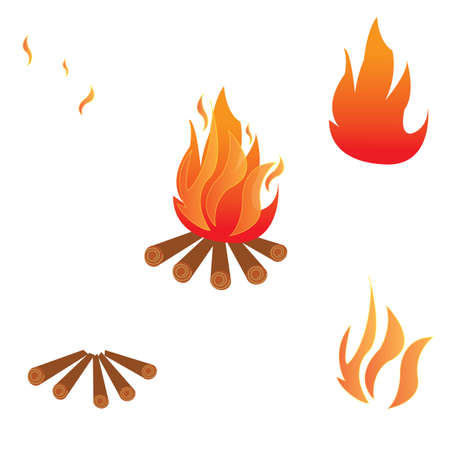 combust: set Vector - Illustration of a campfire on white