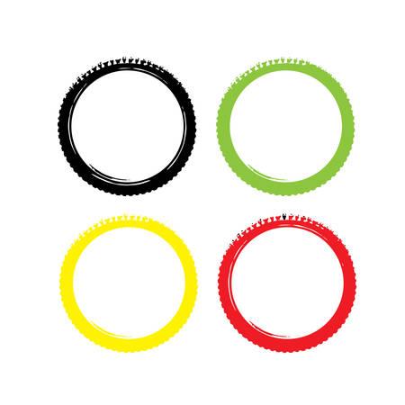 vector bike wheel color silhouette Vettoriali