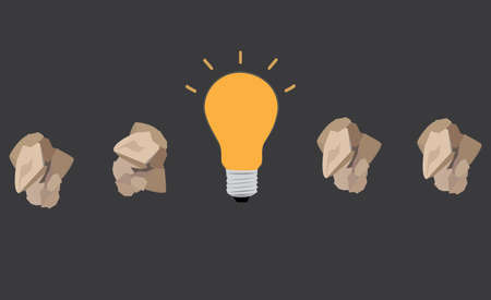 note paper: great idea concept with crumpled paper and light bulb Illustration