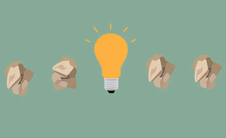 great idea concept with crumpled paper and light bulb Illustration
