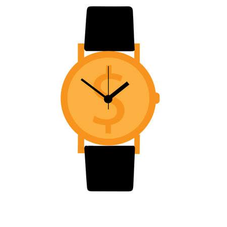 affluence: Watch is money concept Illustration