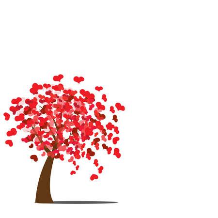 st valentins day: Albero di amore su sfondo bianco, illustrazione.