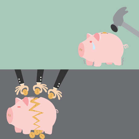 before and  after Broken Piggy Bank Vector