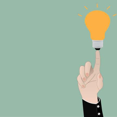 Bulb light on women Fingertip Vector