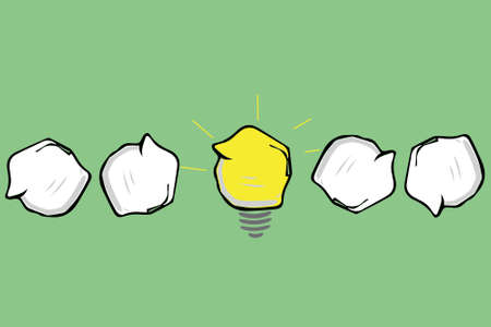 great idea concept with crumpled paper and light bulb Vettoriali