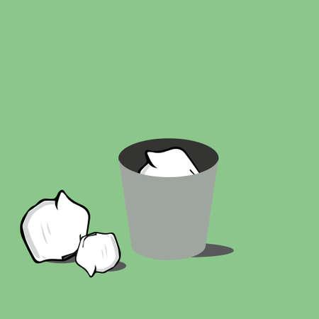 trash bin with crumpled paper.