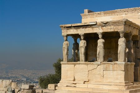 caryatids: View of the porch of the Caryatids of the Erechtheion, in the Akropolils of Athens, Greece.
