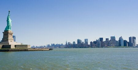 New York City skyline and Statue of Liberty photo