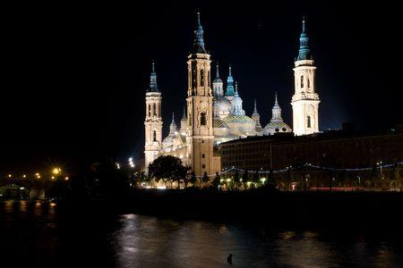 zaragoza: El Pilar cathedral, best known landmark of Zaragoza, Spain Stock Photo