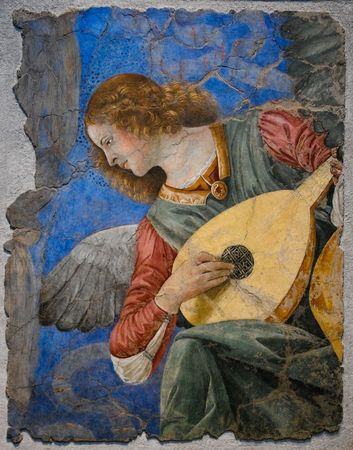 One of the most famous paintings of the angels playing instruments by Melozzo da Forli. Actually in Vatican Museums.