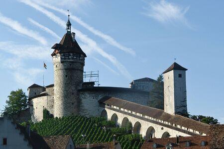 german swiss: The Munot, medieval fortification in Schaffaussen, Switzerland Stock Photo