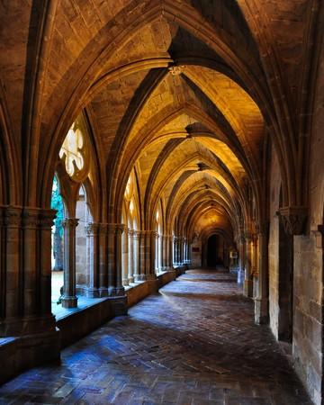 Cloister of Veruela Monastery in Aragon, cistercian style photo