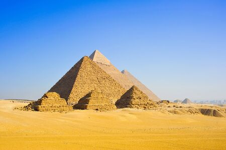 The three pyramids of the pharaohs Cheops, Chephren and Mykerinos