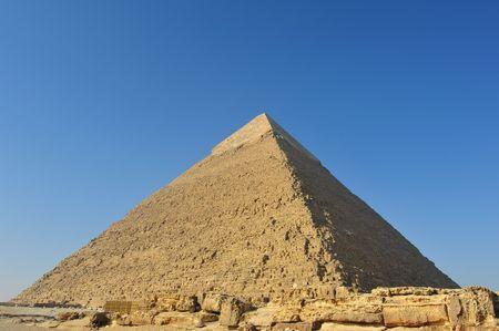 三大ピラミッド、エジプトでカフラー王のピラミッド 写真素材