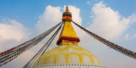 holiest: Boudhanath, one of the holiest Buddhist sites in Kathmandu, Nepal