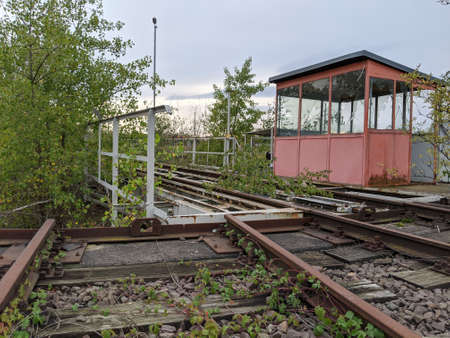 Lost Places, old Merseburg freight yard with turntable and locomotive shed or roundhouse. An old railway system on which steam locomotives were also serviced.