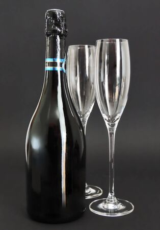 champaign: Champaign and two glasses, isolated on black Stock Photo
