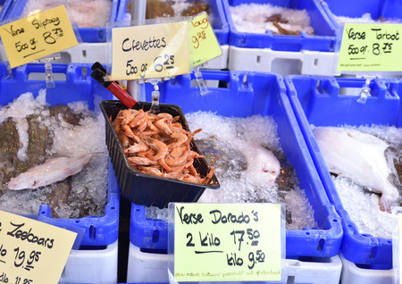 ice crushed: Outdoor market on the town square of Haarlem. Weekly market with fresh fish on crushed ice. Various sorts of fish of the North Sea region. Name tags with text dutch.