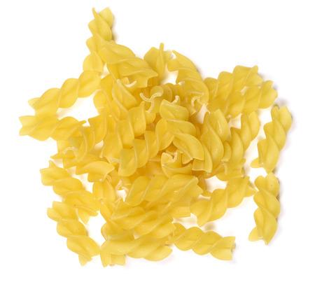 fusilli: Fusilli pasta, isolated on white background.