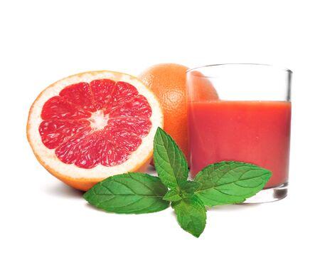 grapefruit juice: Fresh grapefruit, grapefruit juice, isolated on white Stock Photo