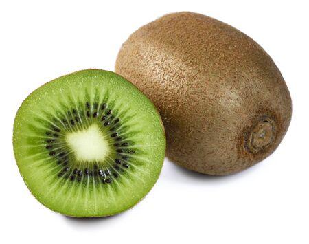 Isolated kiwi slice on white background. Standard-Bild