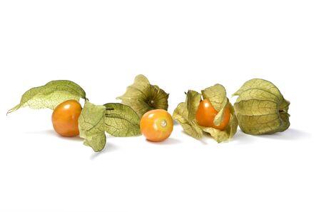 Winter-Kirsche, Obst, Orange Farbe, Lebensmittel, Objekte, Weißer ...