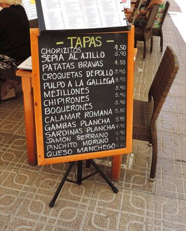 spanish tapas: restaurant menu sign, spanish tapas Stock Photo