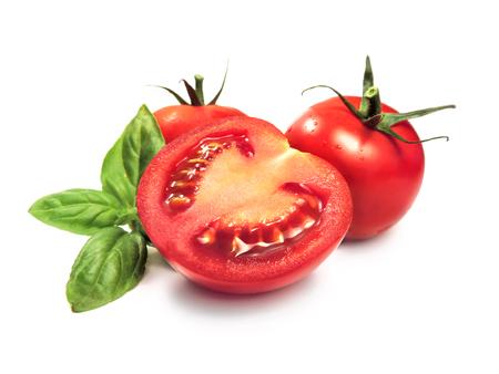 tomato slice: Fresh tomatoes and tomato slice, isolated on white. Stock Photo