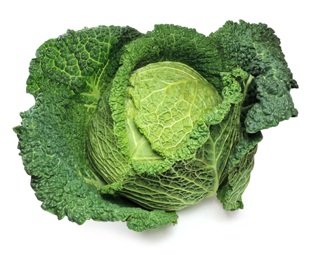 Savoy cabbage, isolated on white.