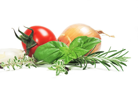 tomato: Ingredients for cooking, isolated on white