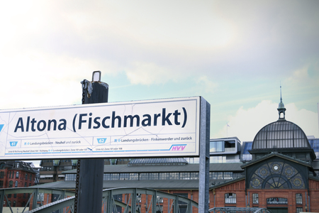st pauli: Hamburg fish market hall, Fischauktionshalle Altona. Building exterior of hamburg fishmarket. Information sign or billboard of the landing station. Editorial