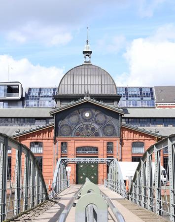 st pauli: Hamburg fish market hall, Fischauktionshalle Altona. Building exterior of hamburg fishmarket.