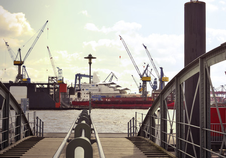 st pauli: Container Harbor. View from Hamburg fish market to the commercial dock of Hamburg harbor.