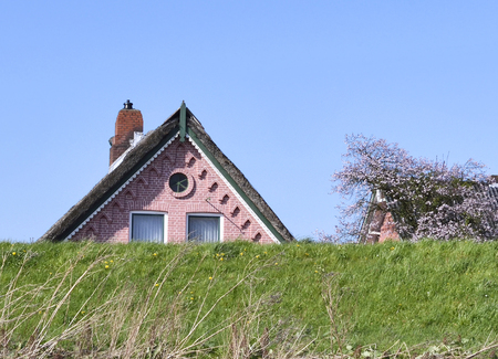 dyke: Idyllic house behind a dyke. Home of protected floodwaters by a dyke.