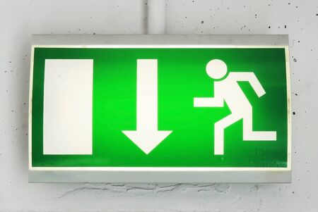 exit sign: Exit or emergency exit sign